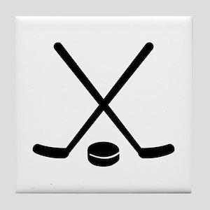 Hockey sticks puck Tile Coaster