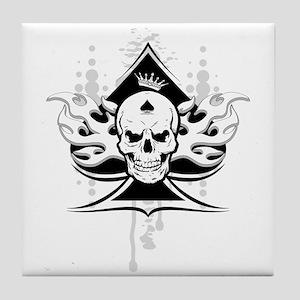 ace of spades skull Tile Coaster