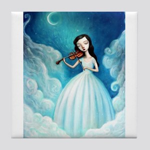 Girl with Moon and Violin Tile Coaster