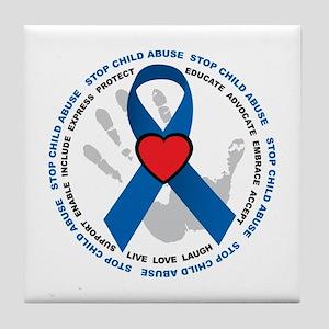 Stop Child Abuse Ribbon Tile Coaster