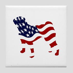 Patriotic Pug - Tile Coaster