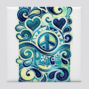 Colorful Hippie Art Tile Coaster