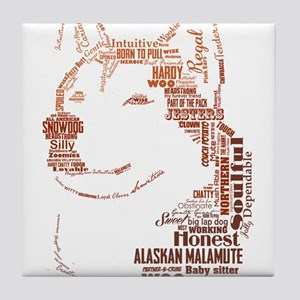 Malamute Words Tile Coaster