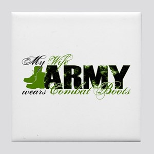 Wife Combat Boots - ARMY Tile Coaster