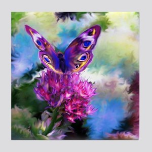 Colorful Abstract Butterfly Tile Coaster
