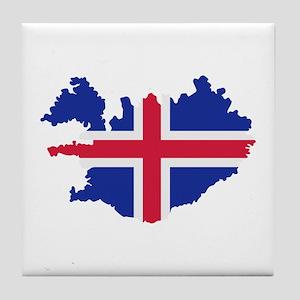 Iceland map flag Tile Coaster