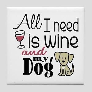 Wine & Dog Tile Coaster