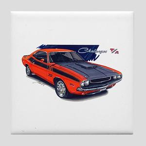 Dodge Challenger Orange Car Tile Coaster