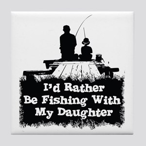 Fishing With  My Daughter Tile Coaster