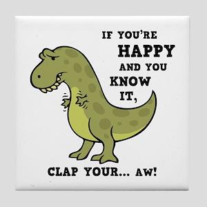 t-rex-clap-2-LTT Tile Coaster