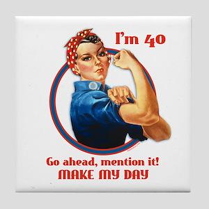 Rosie Riveter 40th Birthday Tile Coaster