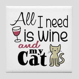 Wine & Cat Tile Coaster