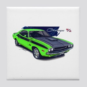 Dodge Challenger Green Car Tile Coaster