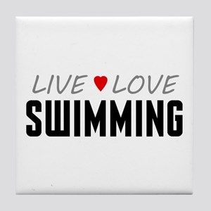 Live Love Swimming Tile Coaster