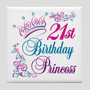 21st Birthday Princess Tile Coaster
