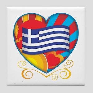 Greek Heart Tile Coaster