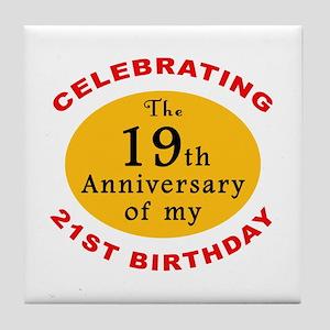 Celebrating 40th Birthday Tile Coaster