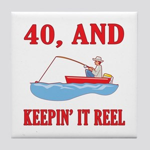 40 And Keepin' It Reel Tile Coaster