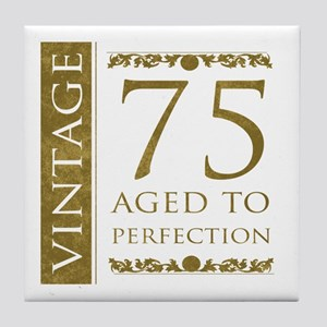 Fancy Vintage 75th Birthday Tile Coaster