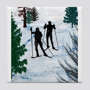 Two Cross Country Skiers in Snow Squa Tile Coaster