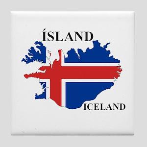IcelandFlagMap Tile Coaster