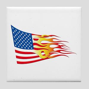 Hot Rod Flag Tile Coaster