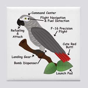 Anatomy of an African Grey Parrot Tile Coaster