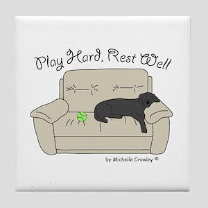 Black Lab - Play Hard Tile Coaster