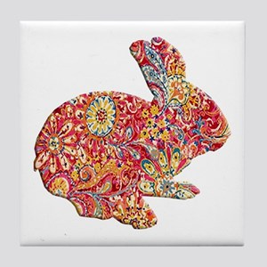 Colorful Floral Easter Bunny Tile Coaster
