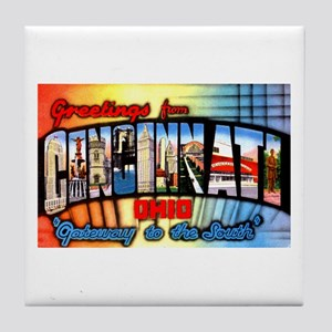 Cincinnati Ohio Greetings Tile Coaster
