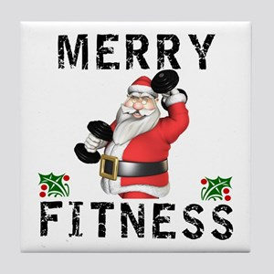 Merry Fitness Santa Tile Coaster