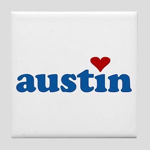 i love austin Tile Coaster