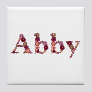 Abby Pink Flowers Tile Coaster