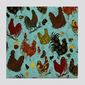 Tossed Chickens Tile Coaster