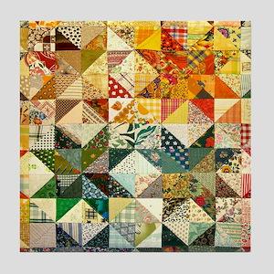 Fun Patchwork Quilt Tile Coaster