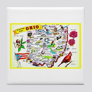 Ohio Map Greetings Tile Coaster