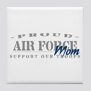 Proud Air Force Mom (Blue) Tile Coaster