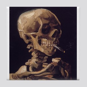 Skull with a Burning Cigarett Tile Coaster