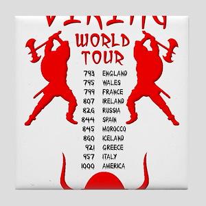 Viking World Tour Funny Norse T-Shirt Tile Coaster