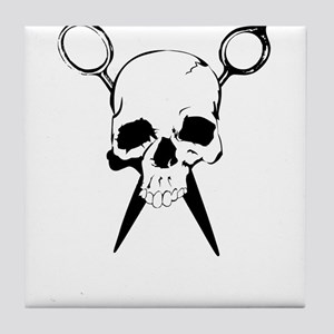 Hair Stylist Skull and Shears Crossbones Tile Coas