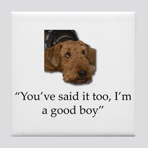 Sulking Airedale Terrier Giving Cute Tile Coaster