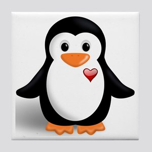 penguin with heart Tile Coaster
