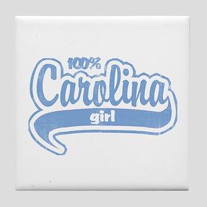 """100% Carolina Girl"" Tile Coaster"