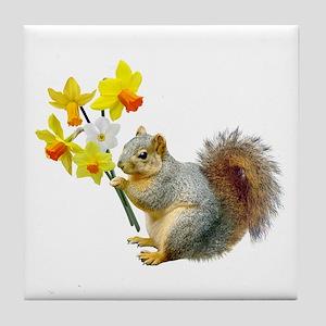 Squirrel Daffodils Tile Coaster