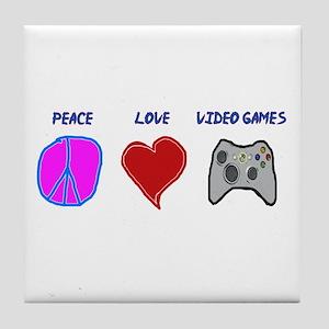 Peace love video games Tile Coaster