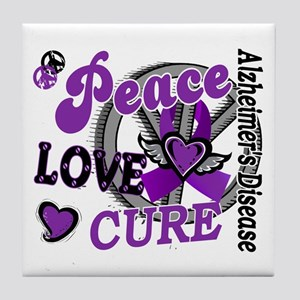 Peace Love Cure 2 Alzheimers Tile Coaster