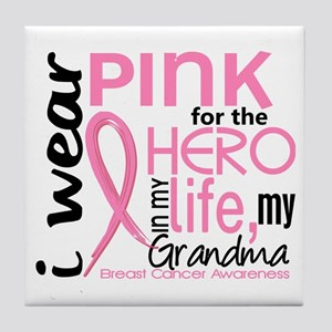 Hero In Life 2 Breast Cancer Tile Coaster