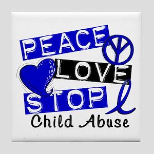 Peace Love Stop Child Abuse 1 Tile Coaster
