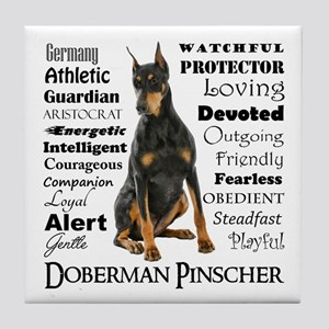 Doberman Traits Tile Coaster