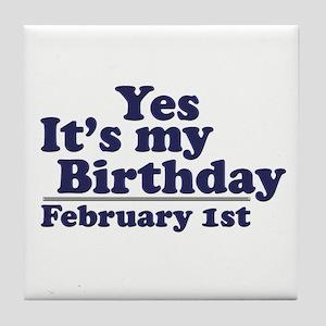 February 1st Birthday Tile Coaster